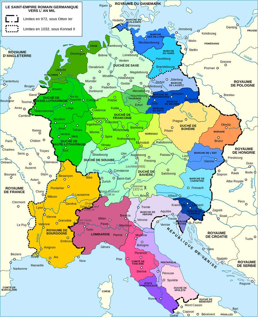 Carte du Saint Empire germanique vers l'an mil. Auteur : Semhur, 2011. © Wikimedia Commons, domaine public