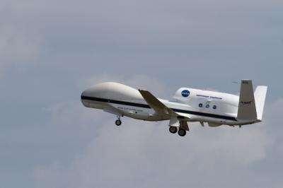 Le Global Hawk 872 surveille les ouragans en Atlantique jusqu'à la fin du mois de septembre. © Wallops Flight Facility, Nasa