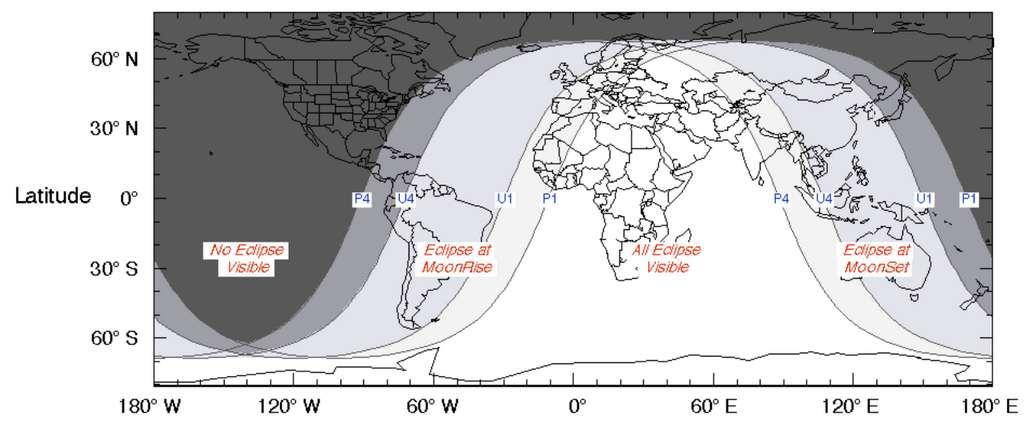 Carte de la visibilité de l'éclipse lunaire partielle du 16 juillet 2019. © Nasa