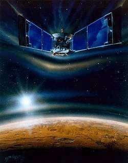Mars Global Surveyor en phase d'aérofreinage. Crédit NASA/JPL