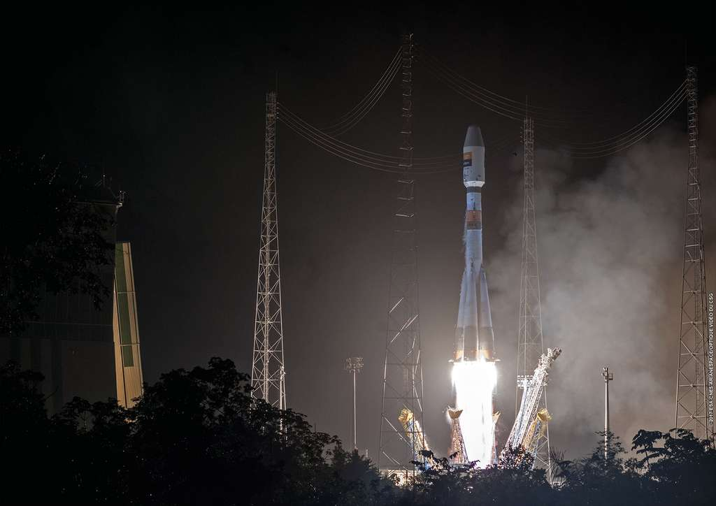 Décollage du lanceur Soyouz avec à son bord le satellite Hispasat 36W-1, le 28 janvier 2017. © ESA, Cnes, Arianespace-Optique Video du CSG, 2017