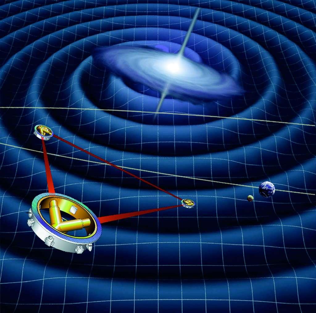 Lisa, premier détecteur spatial d'ondes gravitationnelles, consiste en une constellation de trois satellites en orbite héliocentrique formant un triangle équilatéral de 5 millions de kilomètres de côté. © Esa