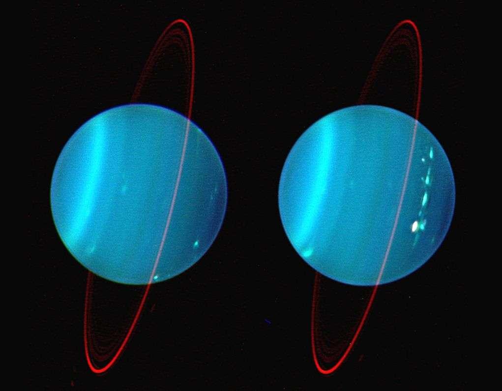 Image infrarouge prise depuis le télescope Keck II équipé d'optique adaptative, et reproduite en fausses couleurs où le bleu, le vert et le rouge représentent 1,26, 1,62 et 2,1 microns de longueur d'onde. Crédit : L. Sromovsky, Univ. Wisconsin, Keck obs.