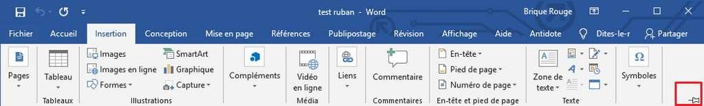 Cliquez sur l'icône en forme d'épingle pour que le ruban reste à l'écran. © Microsoft