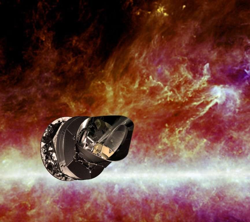 Une vue d'artiste de Planck sur un fond en infrarouge montrant une partie de la Voie lactée vue par les instruments de Planck et Iras. © Esa, HFI Consortium, Iras