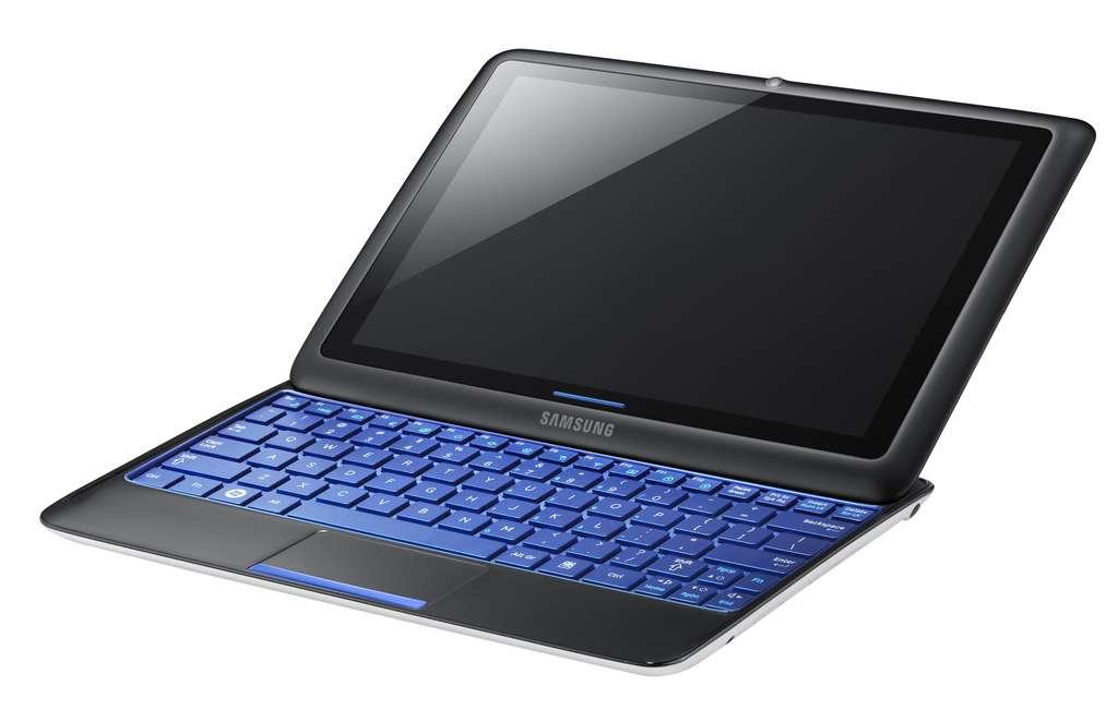 Le Sliding PC 7, de Samsung. Un hybride entre un ordinateur portable et une tablette tactile, avec un clavier escamotable. © Samsung