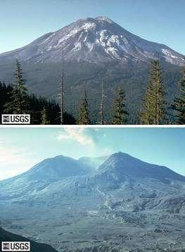 Le Mont St Helens avant et après l'éruption du 18 mai 1980, vu du Johnston Ridge (cliquer sur l'image pour l'agrandir). La montagne a perdu 400 mètres de hauteur et la forêt 600 kilomètres carrés. Crédit USGS/Cascades Volcano Observatory
