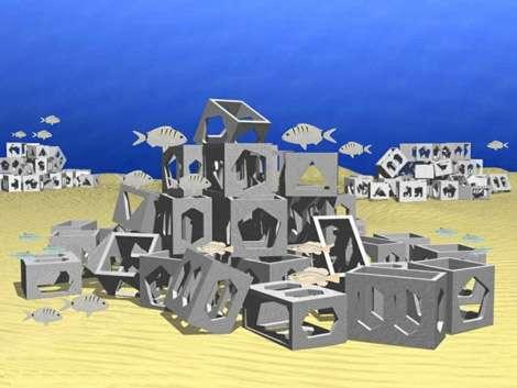 Tas de cubes en 3D. © GIS Posidonie 1999