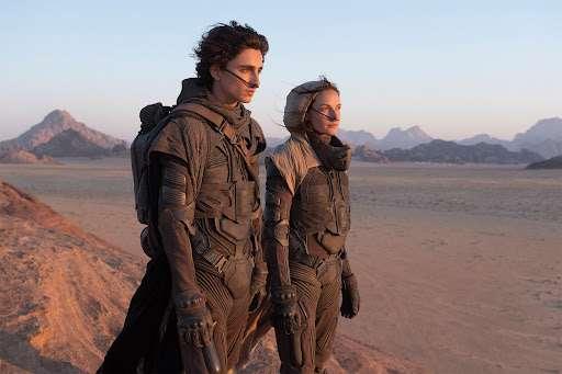 Extrait du film Dune (2021), avec Timothée Chalamet et Rebecca Ferguson. © Warner Bros., Legendary Pictures