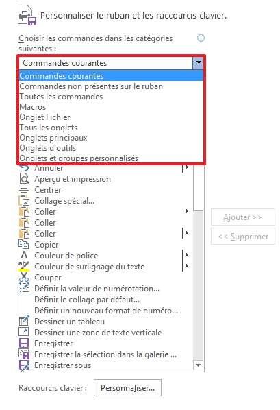 Toutes les commandes sont accessibles via le menu déroulant. © Microsoft