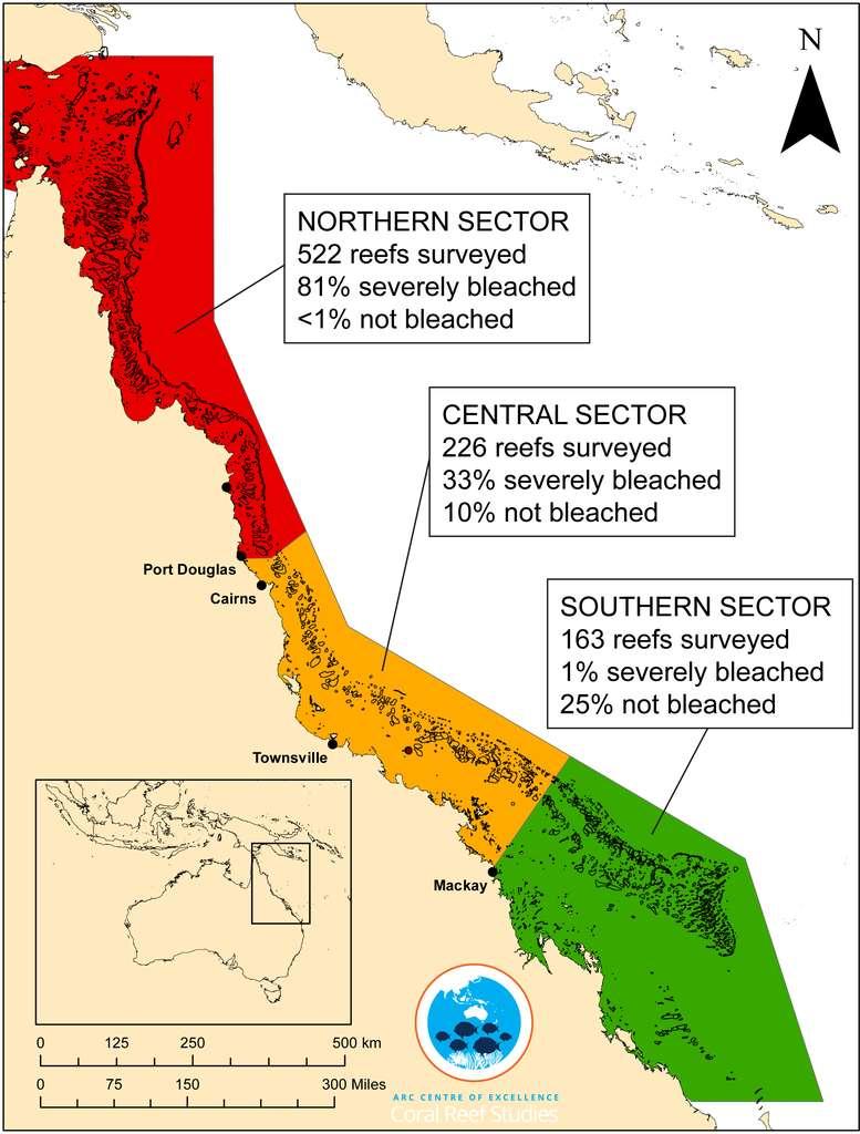 Les proportions de récifs affectés par le blanchissement du corail, après huit journées de survol de la Grande Barrière en avion léger et en hélicoptère. Le nord est bien plus affecté que le sud, qui a été rafraîchi à la fin de l'été par des eaux venues des Fidji à la suite d'un cyclone. © ARC Centre of Excellence for Coral Reef Studies, James Kerry