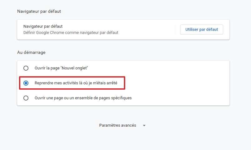 Choisissez l'option « Reprendre mes activités là où je m'étais arrêté ». © Google Inc.