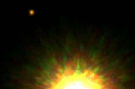 En haut à gauche, le compagnon de 1RXS J160929.1-210524. Crédit Gemini Observatory