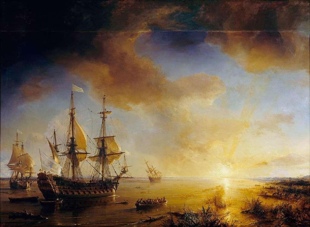 Tableau L'expédition de La Salle en Louisiane en 1684, peint en 1844 par Théodore Gudin, peintre officiel de la Marine. Navires de Cavelier de La Salle dans le golfe du Mexique. © Wikimedia Commons, domaine public.