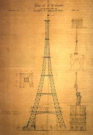 Plan de la Tour Eiffel réalisé par Koechlin.
