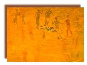 Quelques uns de ces bovidiens blancs se reconnaissent immédiatement à leur coiffure, comme ici sur cette peinture de jabbaren, les cheveux ramassés vers l'avant et noués en chignon sur le front