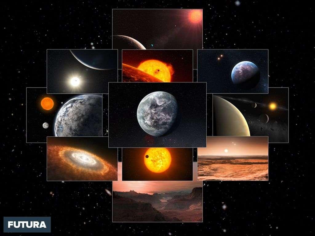 Vues d'une naine rouge, d'une exoplanète et de CoRoT-7 b, un enfer volcanique.