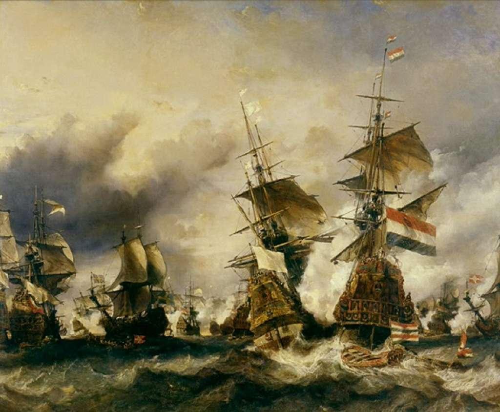 Bataille navale du Texel en juillet 1694, par Eugène Isabey, XIXe siècle. Musée national de la Marine, Paris. © Wikimedia Commons, domaine public.