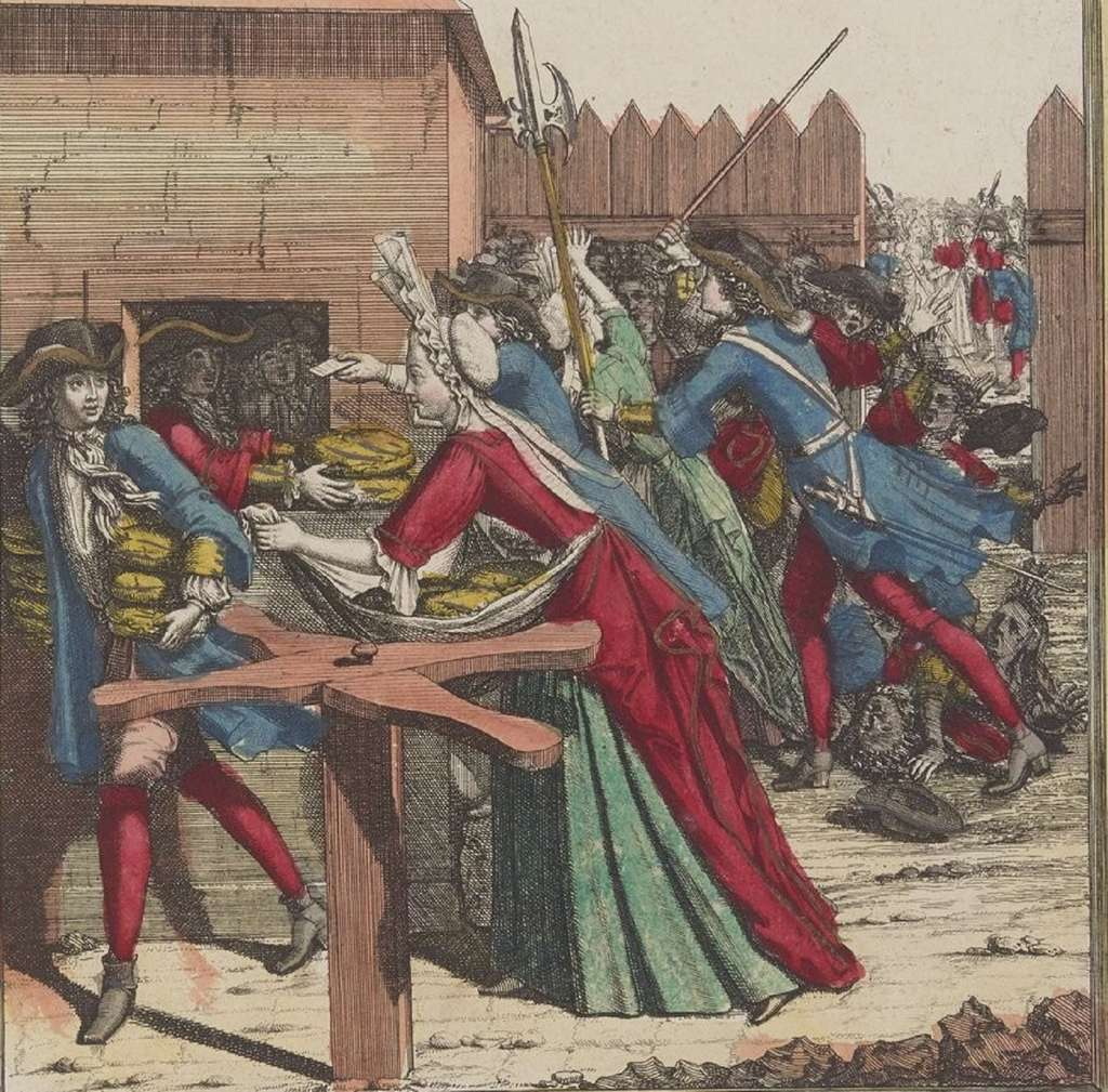 Distribution du pain « du roi » au Louvre en 1693. Bibliothèque nationale de France, département estampes et photographie. © gallica.bnf.fr, BnF