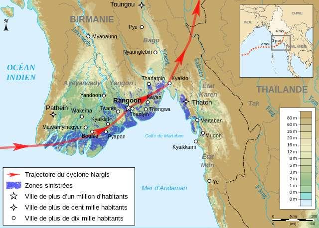 Carte du trajet du cyclone Nargis en Birmanie, mai 2008. © Semhur, Wikimedia commons, CC 3.0