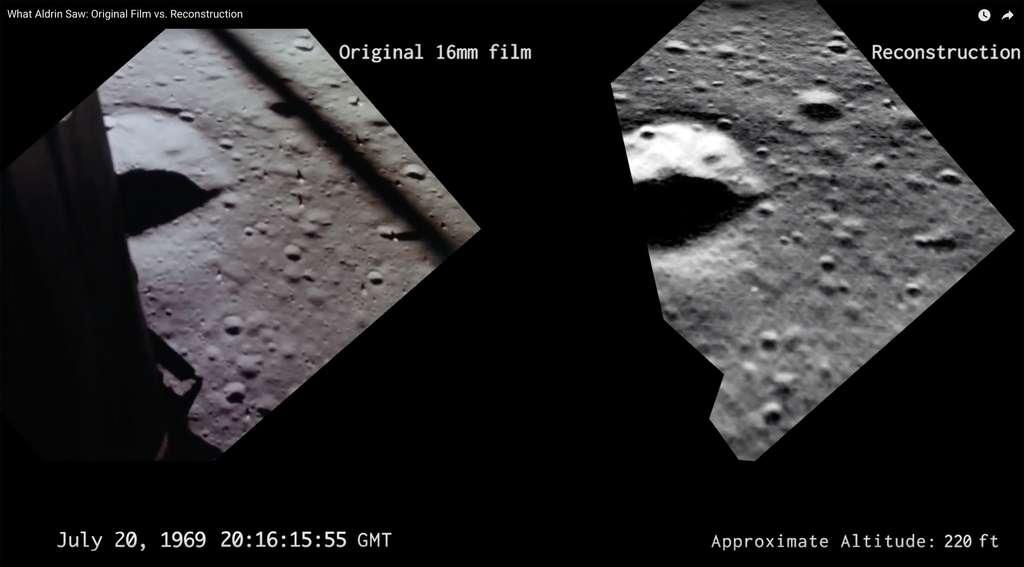 Reconstitution de la descente du module lunaire Eagle d'Apollo 11 avec des images de la sonde LRO, mais acquises 50 ans plus tard dans les mêmes conditions. © Nasa