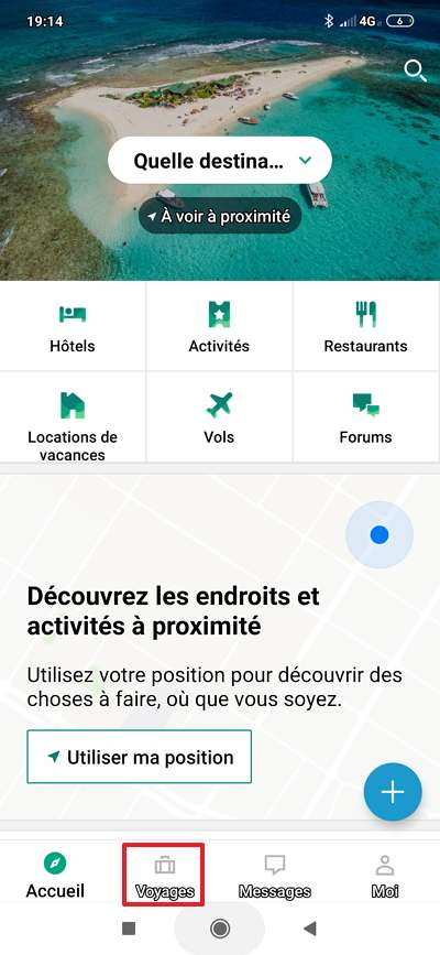 L'icône « Voyages » se trouve en bas de la page d'accueil. © TripAdvisor LLC