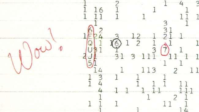 Dans les années 1970, Big Ear, le radiotélescope de l'université d'État de l'Ohio a cherché des signaux en provenance de civilisations extraterrestres. En 1977, il a enregistré un signal tellement puissant que les astronomes qui ont analysé les données l'ont annoté d'un «Wow! ». © Big Ear Radio Observatory and North American Astrophysical Observatory