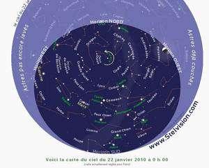 Sur cette carte montrant le ciel le 22 janvier à 0 h (cliquer sur l'image pour voir l'originale), on remarque que la planète Mars est alors assez haute dans le ciel à côté de la constellation du Cancer, alors que le croissant lunaire se couche. Crédit Stelvision.com