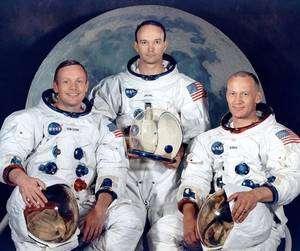 L'équipage de la mission Apollo 11. De gauche à droite Armstrong, Collins et Aldrin. © Nasa