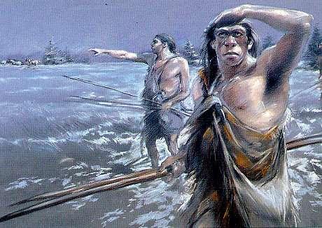Néandertaliens à la chasse aux chevaux. L'alimentation des Hommes de Néandertal comportait bien de la viande. © Peinture de Benoît Clarys, DP
