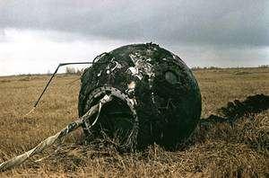 La capsule Vostok 1 après son retour sur Terre. Crédit RKK