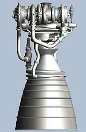 Le moteur BE-4 de Blue Origin en cours de développement. S'il est choisi par ULA, deux BE-4 seront nécessaires pour propulser l'étage principal du Vulcan. © Blue Origin