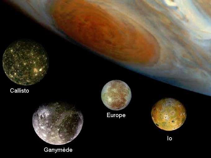 Les quatre satellites galiléens vus par les sondes Voyager. Crédit Nasa