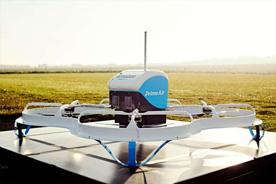 En mai 2017, Amazon a inauguré un centre expérimental Prime Air de livraison par drone à Clichy (Hauts-de-Seine). © Amazon