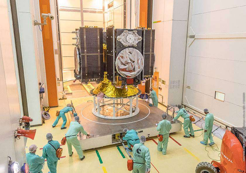 Les quatre satellites Galileo sur leur dispenser, la structure qui les soutient. © Cnes, Service optique du CSG