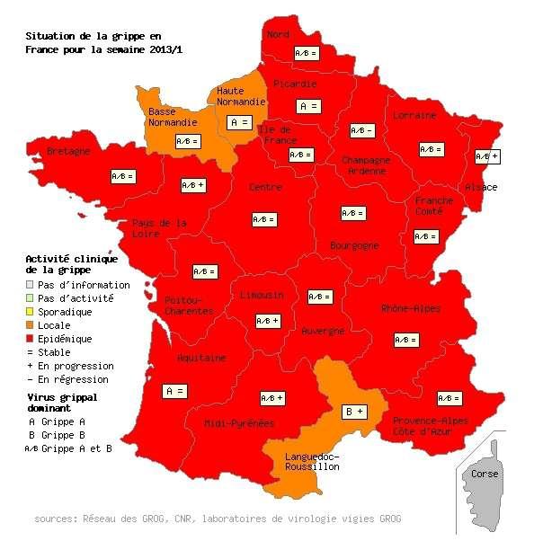 L'épidémie de grippe colore la France en rouge. Seules trois régions (Haute-Normandie, Basse-Normandie et Languedoc-Roussillon) sont teintées en orange, signe d'une activité un peu moins forte. Mais la maladie virale risque encore de s'étendre dans la semaine qui vient... © Grog