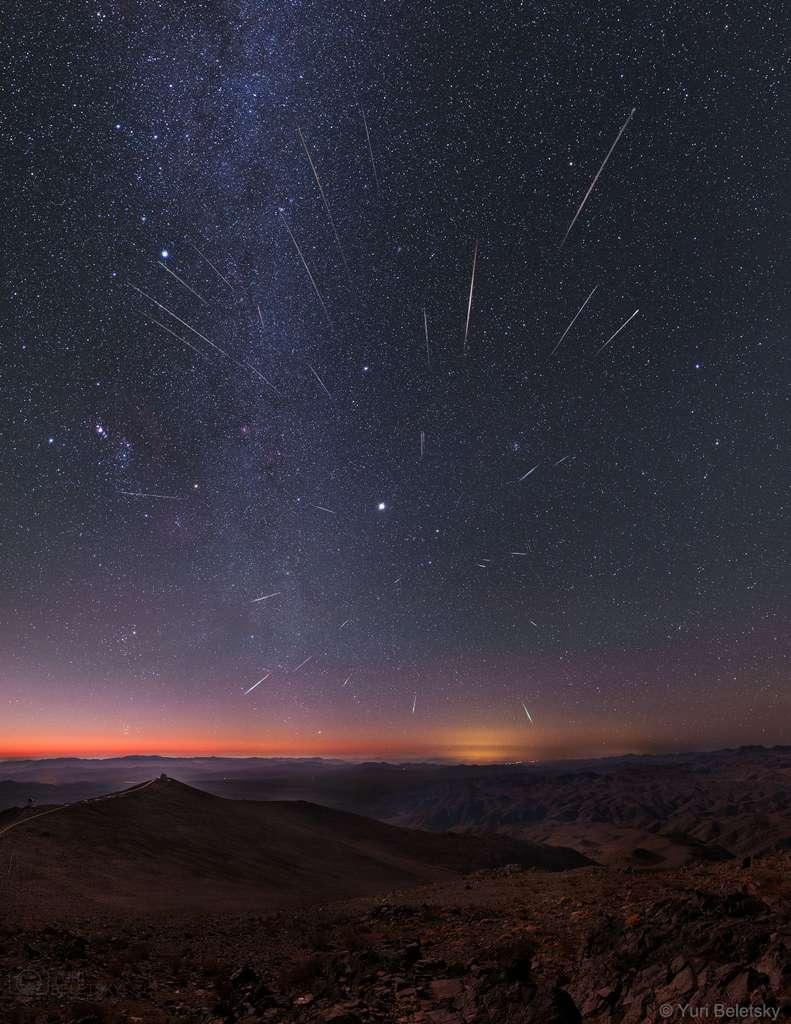 Image composite de la pluie d'étoiles filantes des Géminides en 2013. © Yuri Beletsky, APOD (Nasa)
