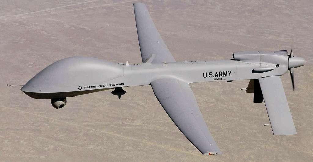 Le MQ-1C Grey Eagle est un drone de combat. Il est dérivé du RQ-1/MQ-1 Predator. © U.S. Army - Domaine public