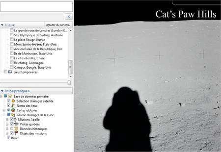 Dans Google Earth, choisissez Lune dans le menu Outils puis, dans le volet à gauche, déroulez le menu Infos pratiques puis Galerie d'images de la Lune.