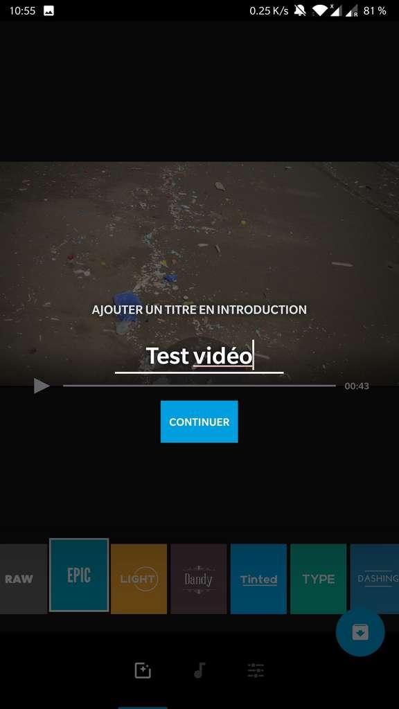 Choix du titre du montage. Il apparaîtra en introduction de la vidéo. © GoPro, Inc.