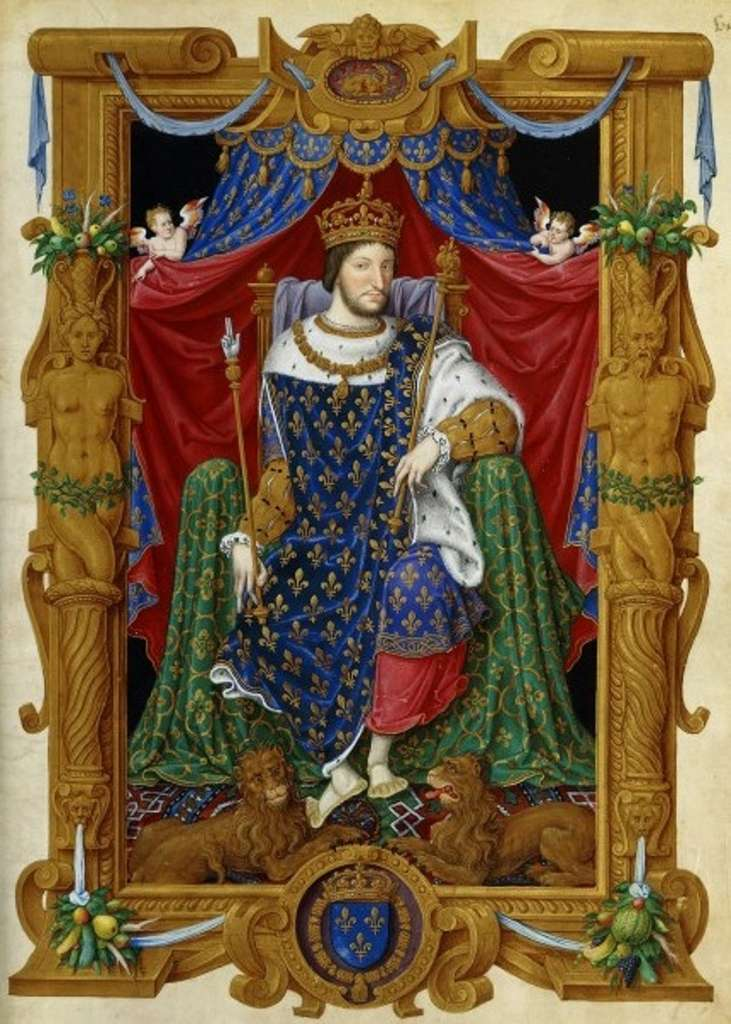Portrait de François Ier en tenue de sacre, par Jean du Tillet vers 1545, dans Recueil des rois de France, Paris, BnF, département des Manuscrits. © Bibliothèque nationale de France