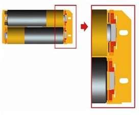 Lorsque la pile est insérée avec le pôle plus vers le contacteur (ici en haut), le plot vient appuyer sur le contact central (en gris), légèrement en retrait par rapport à la périphérie. Celle-ci fait contact lorsque la pile est insérée dans l'autre sens. Les lignes noires symbolisent des isolants qui évitent que la périphérie de la pile, quand elle est insérée du côté du plot, vienne toucher le contacteur. © Microsoft