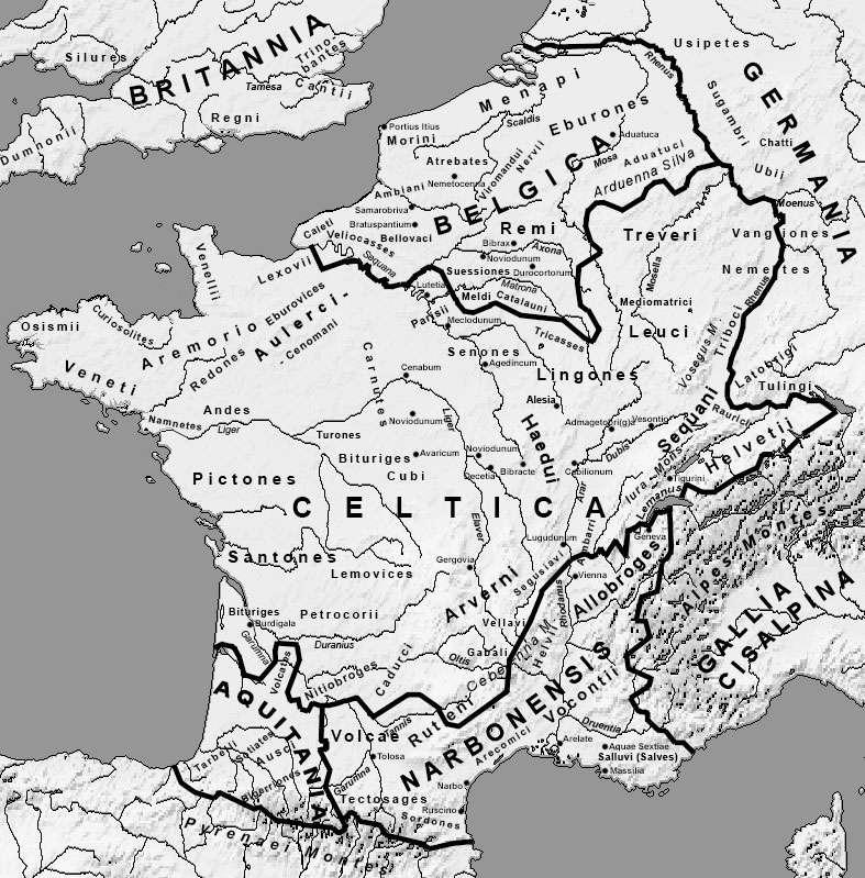 Carte de la Gaule celtique. © DP