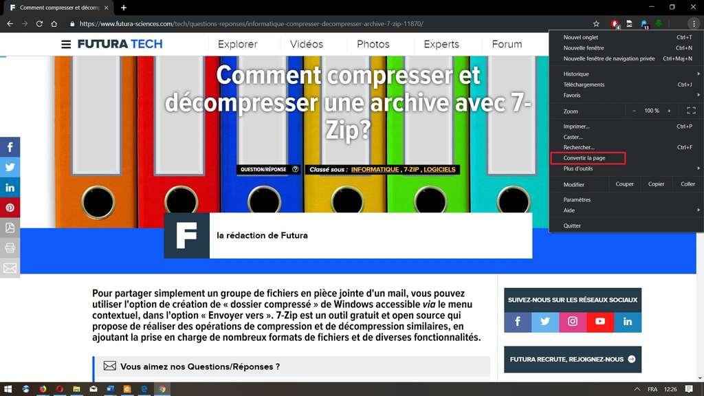Visualisation d'un article sur Futura-Sciences avec Google Chrome en mode normal. © Google