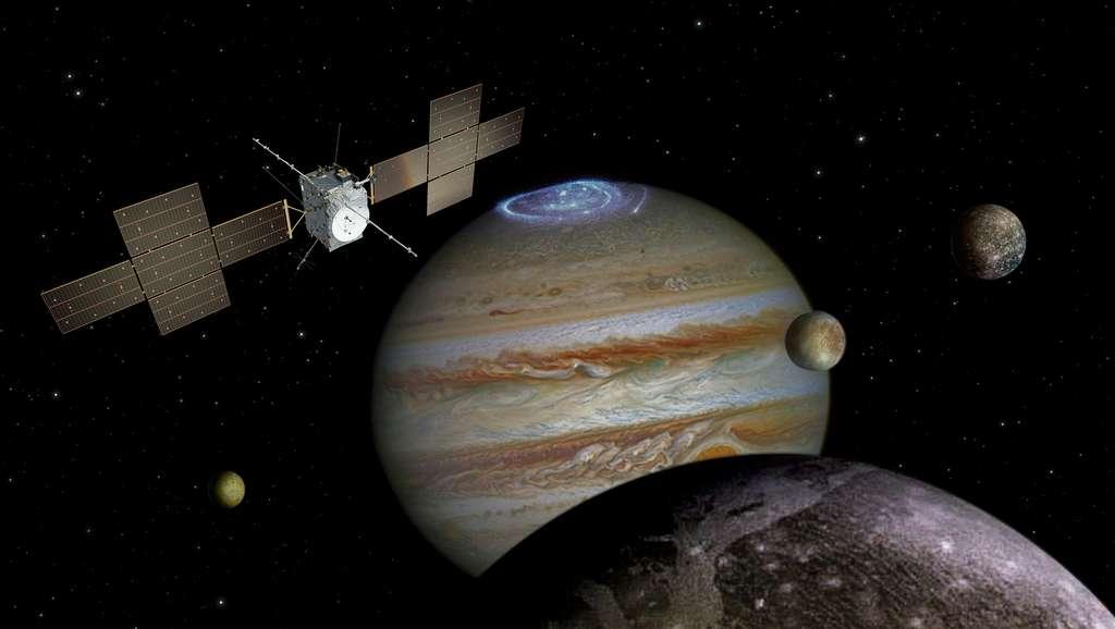 Vue d'artiste de la sonde Juice de l'ESA qui sera lancée en 2022 à destination du système Jovian. © ESA, Nasa, DLR, JPL, University of Arizona, University of Leicester