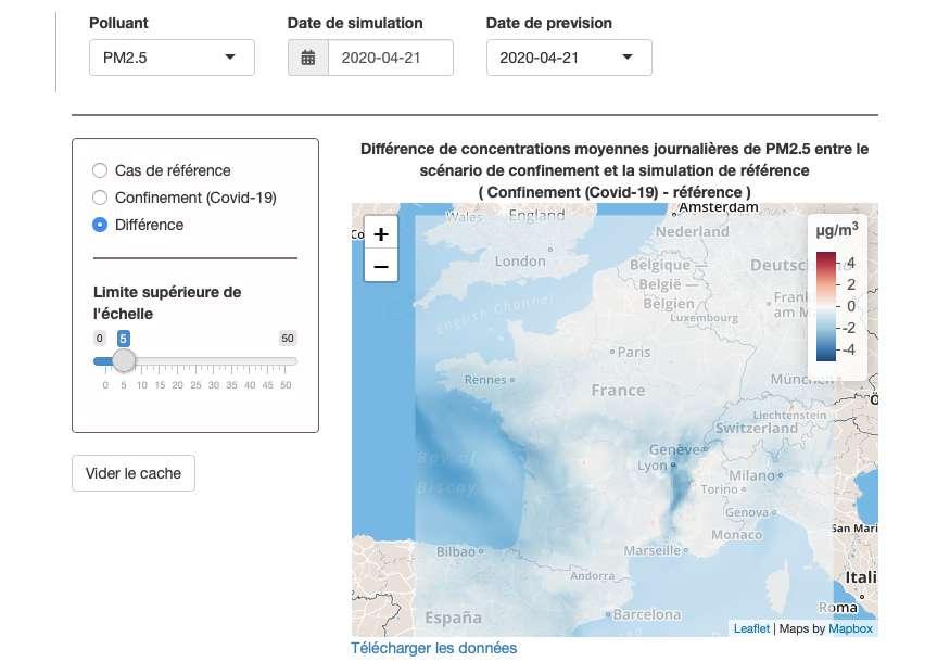 L'interface interactive de l'Institut national de l'environnement industriel et des risques (Ineris - France) permet de visualiser les prévisions de concentrations de différents polluants de l'air, avec ou sans confinement. © Ineris