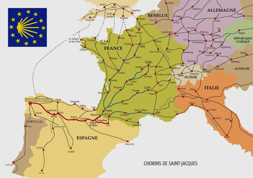 Carte montrant les chemins contemporains en Europe pour se rendre à Saint-Jacques-de-Compostelle. © Kimdine69, Wikimedia Commons, GNU 1.2