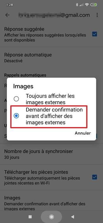 Choisissez « Demander confirmation avant d'afficher des images externes ». © Google Inc.