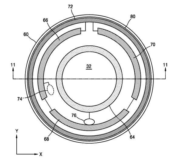 Ce schéma extrait du brevet déposé par Samsung illustre le concept de lentilles dotées d'une caméra qui pourrait renvoyer l'image filmée à un smartphone et potentiellement diffuser en direct ce que voit la personne. © Samsung