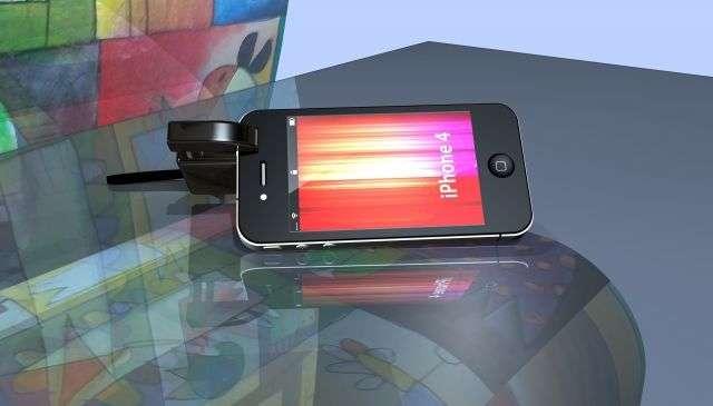Le soclaphone, invention présentée au Concours Lépine 2012 : pour tenir à l'horizontale ou à la verticale un téléphone portable. © Concours Lépine 2012